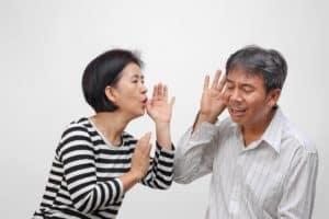 Senior man hearing loss
